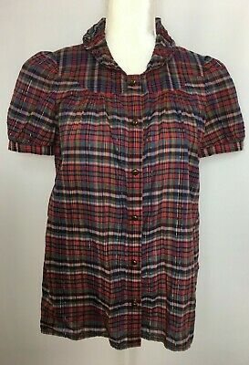 cd45f269968d Marc by Marc Jacobs Women's Sz 8 Red Plaid Short Sleeve Button Blouse w/Gold