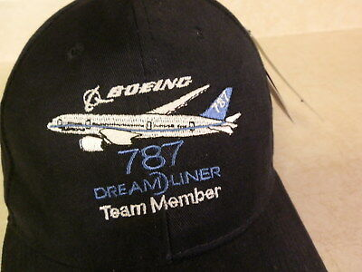 6214210abcc30 Boeing 787 Dreamliner Team Member Hat Baseball Style Cap Adjustable Size NWT