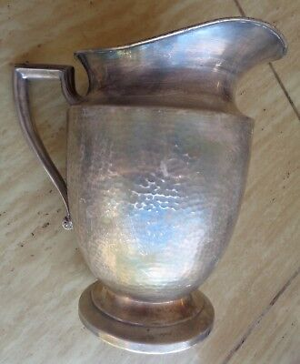 Water Pitcher Wide Mouth Art Deco EPNS Hammered Texture Silverplate