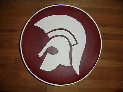 Oxblood & White Large Trojan Head Scooter Wheel Cover