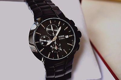 Excellent Watch Guess Black Steel Timer Knight 43,00 MM