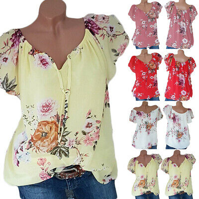 Womens Chiffon Floral Button Shirt Ladies Casual Top Blouse Plus Size