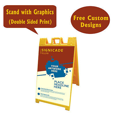 Signicade A Frame Sidewalk Pavement Sign, Double Sided Sandwich Board, Yellow
