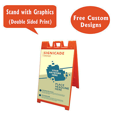 Signicade A Frame Sidewalk Pavement Sign, Double Sided Sandwich Board, Orange