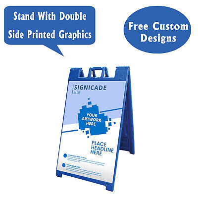 Signicade A Frame Sidewalk Pavement Sign, Double Sided Sandwich Board, Blue