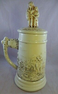 Vtg 1983 Beer Stein Mug Signed Molds OR-GE Indian Scene Chief & Wife Baby on Lid