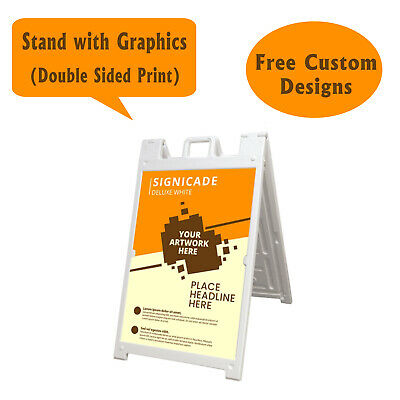 Signicade A Frame Sidewalk Pavement Sign Double Sided Sandwich Board, Dlx White