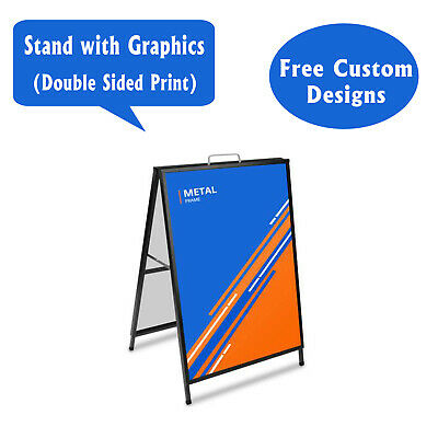 """Metal A-Frame Sidewalk Sign, 24""""X36"""" Double Sided Advertising Sandwich Sign"""