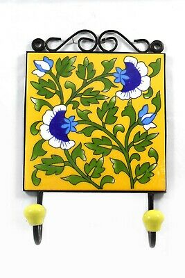 Beautiful Stylish Flower Design Ceramic Tile Fitted Wall Hanging Hook. i75-41 UK