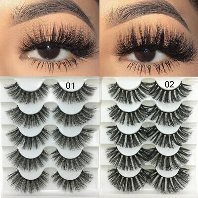 SKONHED 5Pairs 3D Faux Mink False Eyelashes Fluffy Wispy Natural Long Lashes A+