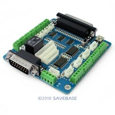 5 Axis Cnc Breakout Board Interface Adapter For Stepper Motor Driver +Db25 Cable