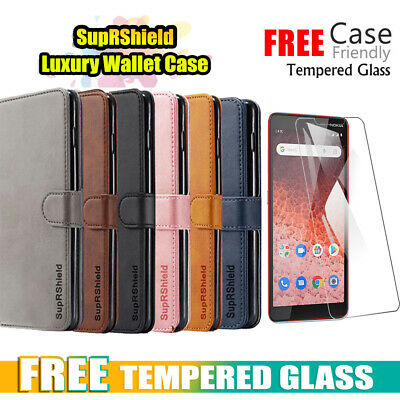 For Vodafone Nokia 1 Plus Wallet Case Leather Flip Stand Cover +Screen Protector