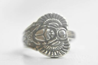 Scarab spoon ring flying winged beetle Egyptian papyrus sterling silver Size 6.2