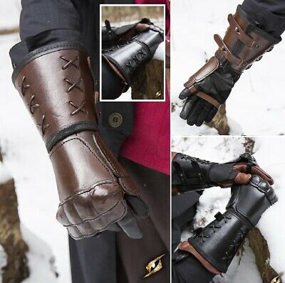 Leather Gauntlet with Cross Cord Detailing for Re-enactment, Stage, Costume LARP