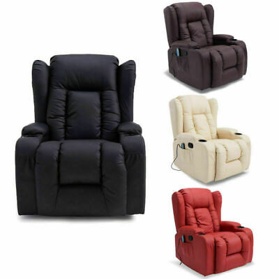Panana 12 In 1 Winged Leather Recliner Chair Rocking Massage Swivel Heated Uk