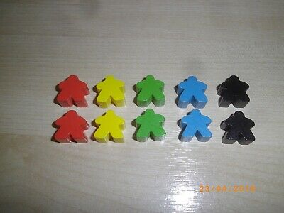 Free P/&P 16mm x 10pc Wooden Meeples // Carcassonne Spares // Yellow UK BASED