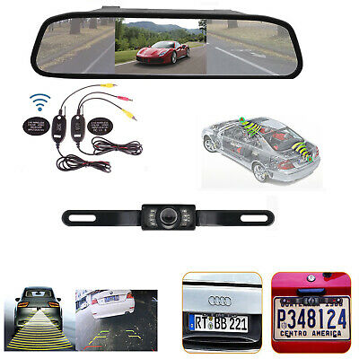 Wireless 5'' HD TFT-LCD Mirror Monitor+License Plate Rear View Backup Camera Kit