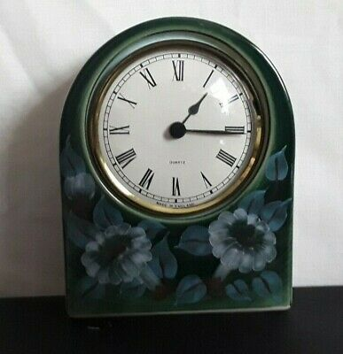 Jersey Pottery Hand Painted Green Floral Mantle Clock.