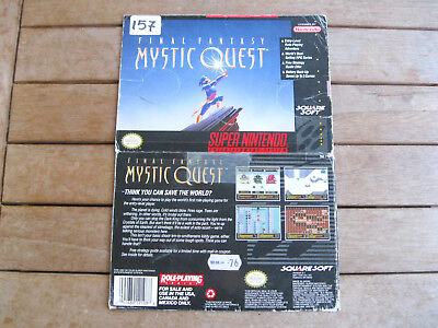 FINAL FANTASY MYSTIC QUEST (1992) Super Nintendo (SNES) COVER - NO CARTUCCIA