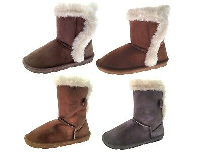 Girls Faux Suede Fur Lined Boots Button Snugg Winter Mid Calf Ankle Booties Size