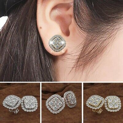 Crystal Square Stone Stud Earrings Fashion Woman Crystal Silver Gold Earrings