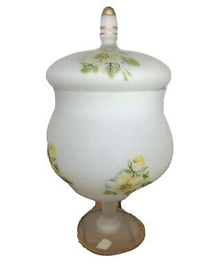 Norleans Japan Frosted Satin Glass Floral Apothecary Jar With Tent Lid