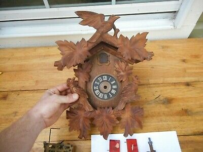 Antique Black Forest Heavy Wood Carved Birds Cuckoo Clock Germany REGULA Repair