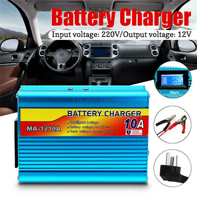 10A LCD Display Automatic Intelligent Smart Car Battery Charger Cars Truck Boat