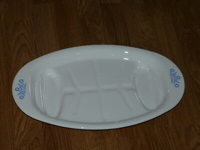 Vintage Corning Ware P-19 Meat Platter Roaster Cornflower Blue - 16'' - Made USA