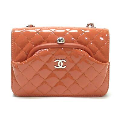 06c6daf7d1d3 Auth CHANEL Quilted Kiss Lock Shoulder Crossbody Bag Coral Pink Patent  Leather