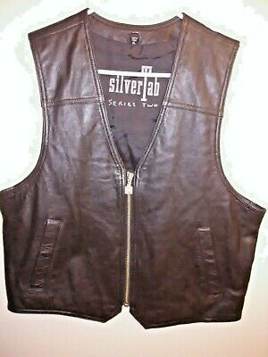 Vintage Silver Tab Leather Motorcycle Biker Vest Mens XL