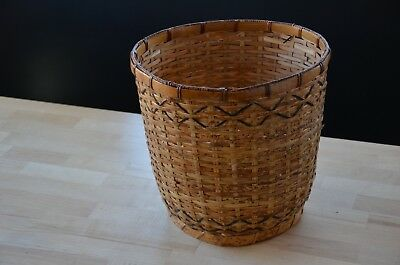 Antique hand woven basket People's Republic of China vintage wicker bamboo