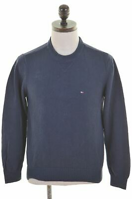 TOMMY HILFIGER Mens Crew Neck Jumper Sweater XS Navy Blue Cotton  T106