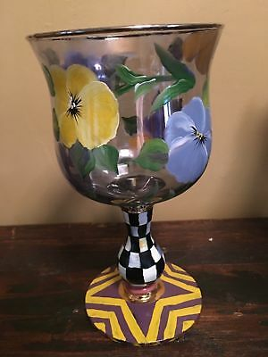 MACKENZIE CHILDS COURTLY CHECK PANSIES Wine Glass GOBLET 4 available Retired