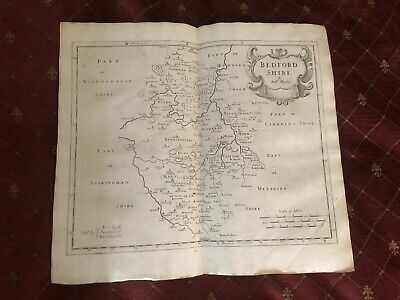1695 COUNTY of BEDFORDSHIRE Original English Antique Map  Robert Morden RARE