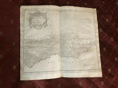 1695 COUNTY of SUSSEX Original English Antique Map  Robert Morden RARE