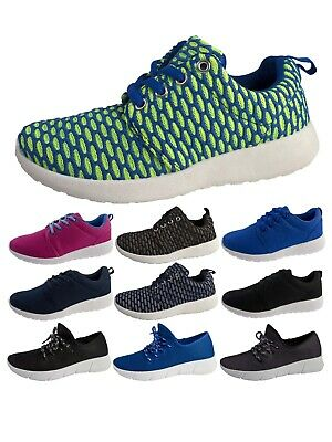 Womens Girls Lightweight Sports Trainers Breathable Running Shoes Lace Ups Size