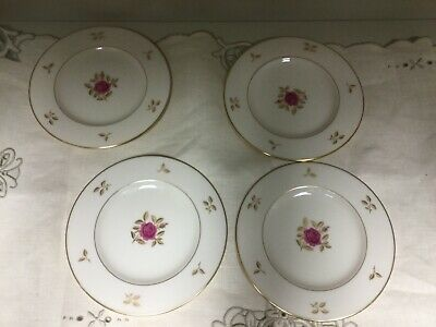 "Bread Plate (s) 6-1/4"" - RHODORA by Lenox USA - Red Rose w/ Gold Trim Leaves"
