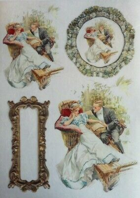 Rice Paper for Decoupage Scrapbooking Vintage Love Couple Pictures ITD R660