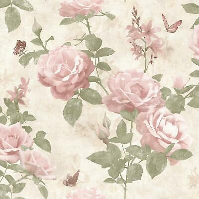 Rasch Vintage Rose Floral Wallpaper Blush Pink Cream Fabric Effect Chic Flowers