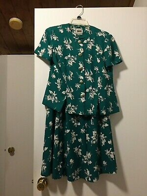 Beautiful Vintage Size 8 Petite LESLIE FAY Green Teal Dress Skirt 2 pc Excellent