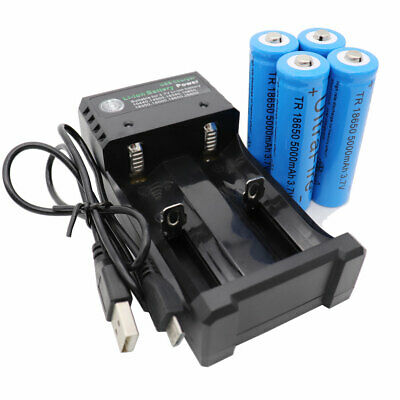 4pcs Li-ion 18650 Battery 5000mAh 3.7V Rechargeable For Flashlight+USB Charger