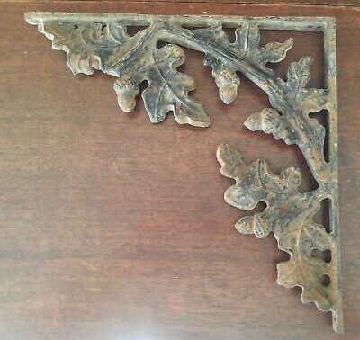 Antique Vintage Cast Iron Shelf Bracket Support Brace Oak Leaves Acorns 12 3/4""