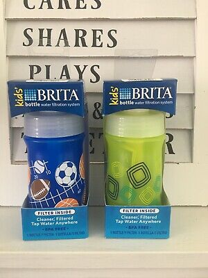 Brita Soft Squeeze Water Filter Bottle For Kids Variety 2 Pack Navy Blue