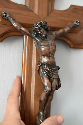 ⭐ antique French religious wall cross, crucifix ,19 th century⭐