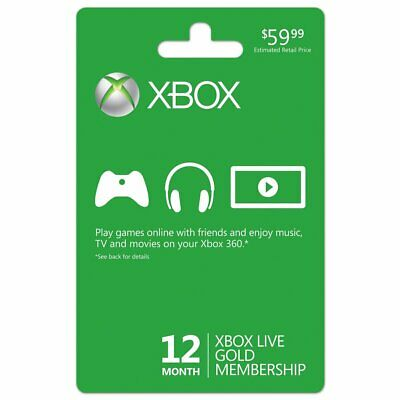 Xbox Live 360/One 12 Month Gold Membership Subscription Code Fast Delivery