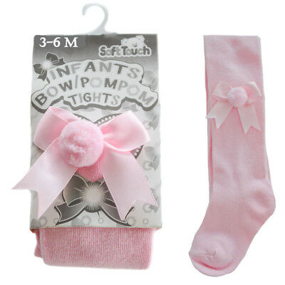 Baby Pink Bow Pom Pom Tights Traditional Spanish Romany Soft Touch 0 - 24 Months