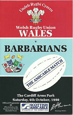 WALES v BARBARIANS CENTENARY RUGBY UNION PROGRAMME 6 OCTOBER 1990