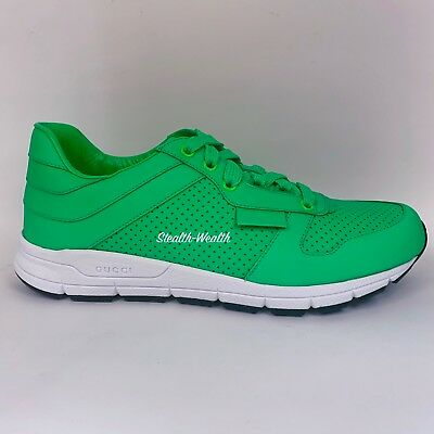 a2ecd8dfd51 Gucci Men s Neon Green Leather Running Tennis Trainer Sneakers 369088 7.5 G