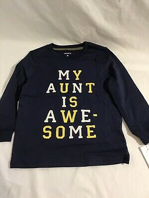 NEW Carter's Toddler Boys 3T Aunt Is Awesome Long Sleeve Top Navy Blue With Tags
